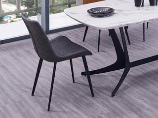 极简风格 深灰色 碳素钢+皮艺餐椅