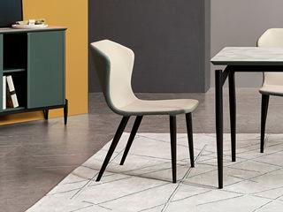 极简风格 灰+蓝 双色皮艺餐椅