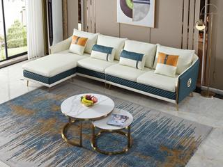 轻奢风格 高端纳帕皮 北美进口落叶松框架 D01 弹簧底坐 沙发组合 (2+2+脚踏) 不分方向