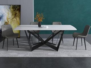 现代极简 碳素钢底座 意大利进口岩板N02#W型岩板餐桌 蝴蝶型1.8米餐桌