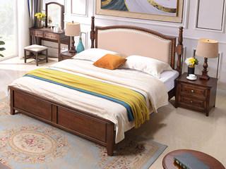 美式风格 泰国进口橡胶木 浅咖色 1.8*2.0米实木床