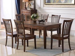 美式风格 泰国进口橡胶木 浅咖色 1.35米长餐桌