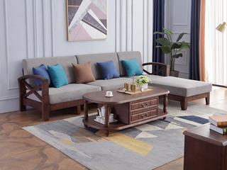 美式风格 泰国进口橡胶木 浅咖色 转角贵妃沙发组合(不分左右)