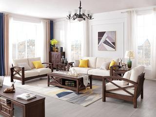 美式风格 泰国进口橡胶木 沙发组合(1+2+3)