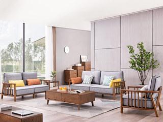 北欧风格 北美进口白蜡木 科技布沙发 沙发组合(1+2+3)(不包含小抱枕)
