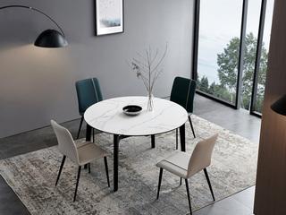 洛林菲勒 极简风格 橡木 岩板功能台餐桌