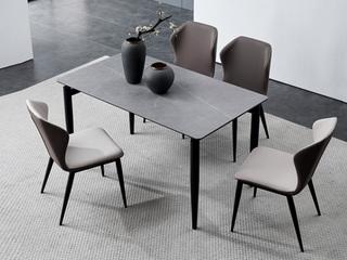 洛林菲勒 极简风格 碳素钢脚 浅灰 餐椅(单把价格 需2把起售 不单卖)