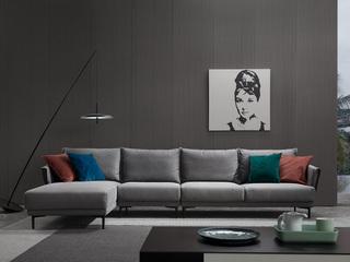 极简风格 科技布 实木底框架 转角沙发(1+3+右贵妃)