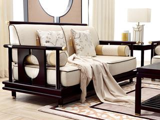新中式 东南亚进口红檀木 高精密提花面料 K902 双位沙发
