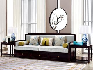 新中式 东南亚进口红檀木 超纤真皮(靠背接触面) 麻布(座包) K905 三位沙发