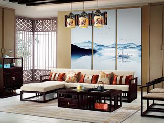 新中式 东南亚进口红檀木 优质细麻 K908 转角沙发(3+右贵妃)