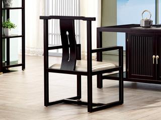 新中式 东南亚进口红檀木 超纤皮S966 书/茶椅