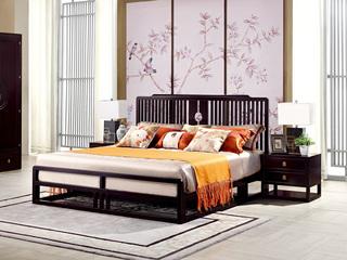 新中式 东南亚进口红檀木 W972 1.8米床
