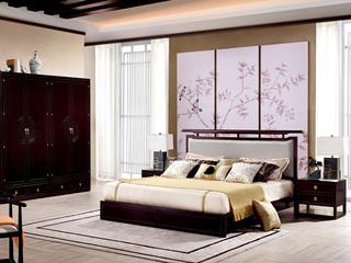 新中式 东南亚进口红檀木 真丝靠包W976 1.8米床