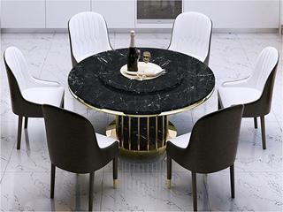 轻奢风格 大理石 不锈钢拉丝封釉镀钛金 1.35m餐桌(含转盘)