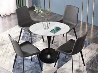 卡伦斯特 轻奢风格 大理石 黑砂铁柱0.7m大理石洽谈桌