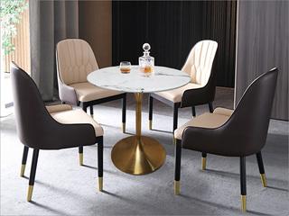 卡伦斯特 轻奢风格 大理石 不锈钢电镀钛金拉丝0.8m大理石洽谈桌