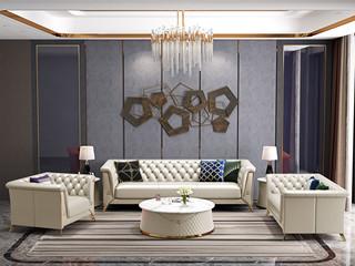 轻奢风格 进口实木 优质超纤皮 深点拉扣+不锈钢拉丝封釉镀钛金 组合沙发(1+2+3)(抱枕随机发货)