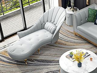 轻奢风格 优质皮艺 进口实木 不锈钢拉丝封釉镀钛金 贵妃位沙发(抱枕随机发货)