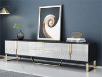 卡伦斯特 轻奢风格 高级密度板钢琴烤漆柜子 不锈钢架子 玻璃2.2米电视柜
