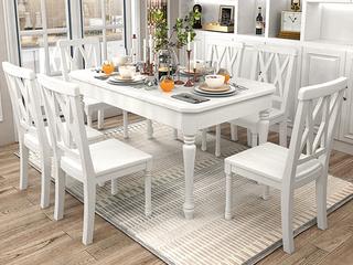 简美风格 泰国进口橡胶木 全实木 象牙白餐桌