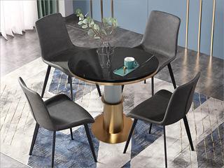 卡伦斯特 轻奢风格 大理石 不锈钢电镀钛金拉丝 铁柱 0.7m大理石洽谈桌