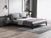 藝家 北歐風格 實木框架 高密度海綿 淺灰布靠背 1.8m床