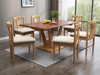 北欧风格 泰国进口橡胶木 1.3m方餐桌
