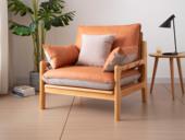 慕森 北欧风格 榉木坚固框架 科技布面料 原木色单人沙发