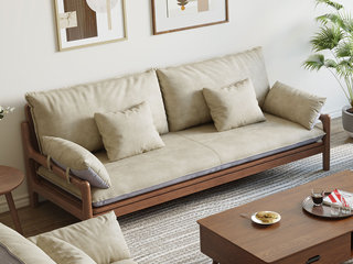 北欧风格 榉木坚固框架 科技布面料 胡桃色三人位沙发