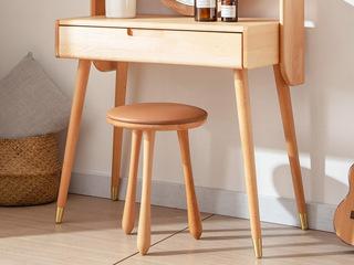 北欧风格 榉木坚固框架 原木色 妆凳
