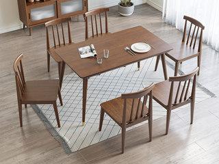 北欧风格 榉木坚固框架 胡桃色 简约方餐桌
