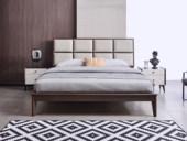 科隆印象 现代简约 超纤皮 进口卡斯楠木床架 1.8*2.0m床