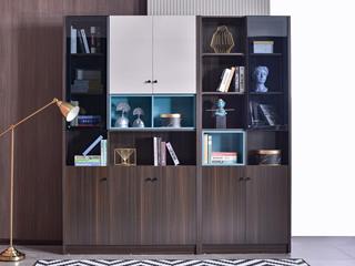 现代简约  铝合金框 钢化玻璃 书柜组合(三门书柜+两门书柜)