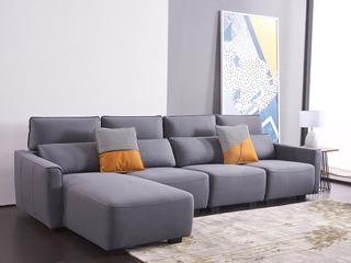 现代简约 科技布 松木底架 高回弹海绵座包靠包 公仔棉(抱枕) 灰色转角沙发 沙发组合(1+1+1+右贵妃)