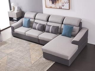 现代简约 科技布 松木底架 高回弹海绵座包靠包 公仔棉(抱枕)灰色沙发 沙发组合(3+3+脚踏)