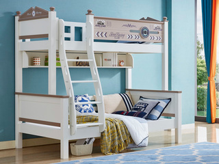 宸轩 简美风格 泰国进口橡胶木 白色+3D 1.5m 上下床(含书架)