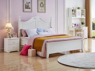 简美风格 泰国进口橡胶木 白色床(1.35*2.0米床)