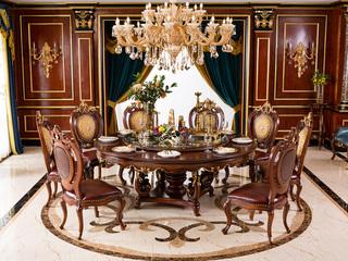 进口桃花芯木 金棕色圆餐桌电动转盘2米餐桌(含转盘)