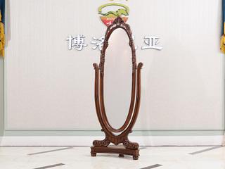 口桃花芯木 全实木框架 华丽棕色礼仪镜穿衣镜