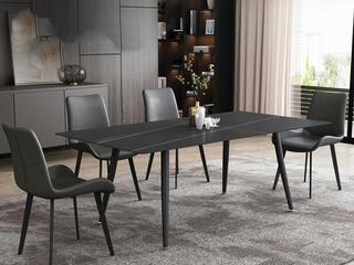 极简风格 直边圆角岩板台面 金属圆角脚 1.4米餐桌