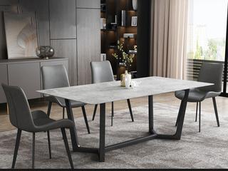 极简风格 岩板台面 碳素金属脚 1.6米餐桌