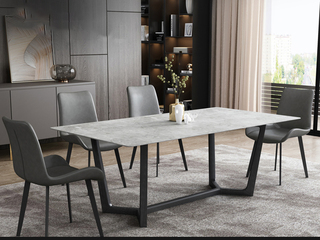 极简风格 岩板台面 碳素金属脚 1.8米餐桌