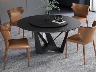 极简风格 高颜值技术岩板桌面 碳素钢框架 磨砂烤漆工艺 1.4米圆餐桌(含转盘)