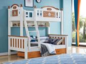 宸轩 简美风格 泰国进口橡胶木 蜜桃金+白色1.5m 上下床(含书架和抽屉)