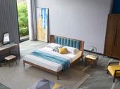 木之忆 北欧风格 北美进口白蜡木 坚固耐用 亲肤棉麻 弧面床头设计 1.8*2.0m双人床