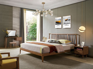 北欧风格 北美进口白蜡木 栅栏式床头 坚韧耐磨 简朴清新 1.8*2.0m双人床