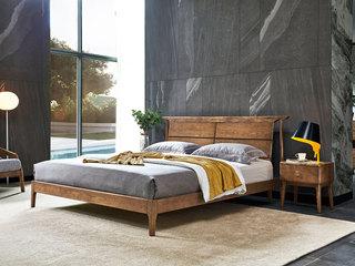 北欧风格 北美进口白蜡木 简约线条 自然质朴 1.8*2.0m双人床