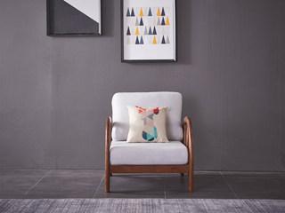 北欧风格 北美进口白蜡木 弧形工艺 稳固承载 亲肤棉麻 单人沙发