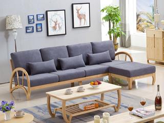 北欧风格 北美进口白蜡木 弧形工艺 稳固承载 亲肤棉麻 四人沙发